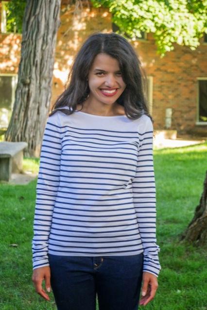 H&M Kate Middleton blue and white stripe shirt