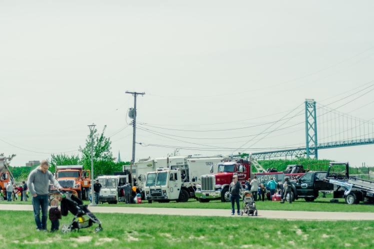 detroit riverfront, touch a truck